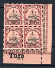 Togo 14 Bordure D'Angle Bloc de Quatre avec Inscription Neuf (B6071