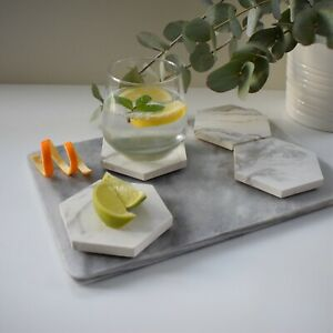 Handmade Concrete Hexagon Coasters By Feathered Oak White Marble (Set Of 4)
