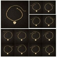 Heart Chain Gold Color Any Initial Letter Charm Beaded Anklet Ankle Bracelet