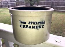 """Antique Butter Crock Cobalt Blue Adv. Reads """"From ATWATERS CREAMERY""""(Elmira NY)"""