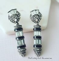 Art deco vintage black, white crystal chandelier cocktail statement earrings
