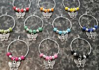 Wine glass charms. 10 Butterfly Mixed colour. Party anniversary decoration.