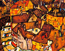 Crescent of Houses by Egon Schiele A1+ High Quality Canvas Print