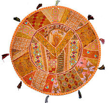 "17"" Round floor pillow Patchwork floor cushion Vintage Indian Bohemian Bean Bag"