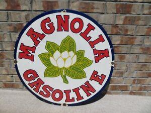 Vintage Porcelain Magnolia Gas Sign 30 Inches