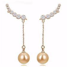 ED17 Elegant Drop Faux Pearl & Crystal Statement Earrings