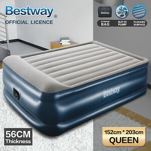 Air Bed Bestway Queen Inflatable Mattress 56cm Electric Built-in Pump camping