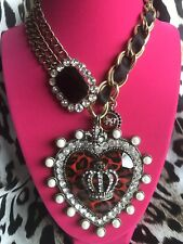 Betsey Johnson Vintage Royal Engagement HUGE Red Leopard Heart Crown Necklace