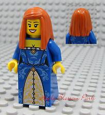 NEW Lego Pirates Orange Hair FEMALE MINIFIG -Dark Blue Dress/Skirt Princess Girl