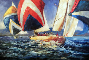 Sailboats Ocean Regatta Race Bright Colors Modern Art Sea Oil Painting STRETCHED