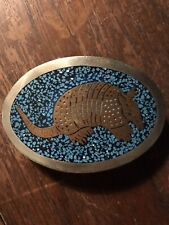 Vtg Silver Tone Armadillo Copper Turquoise Belt Buckle Mexico Western Southweste