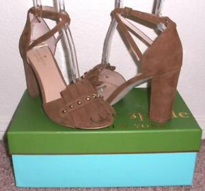 NIB Kate Spade Brown Suede Kiltie Fringe Block High Heel Sandals 8