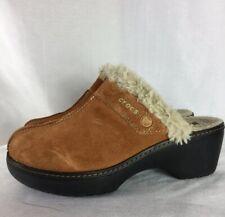 Crocs Cobbler Tan /Brown Suede Lined Slide Clog Mules Women's 8