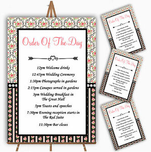 Black And Pink Shabby Chic Rose Tea Stripes Wedding Order Of The Day Cards