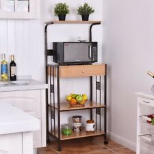 3-tier Kitchen Iron Frame Microwave Oven Outlet Storage Organizer Rolling Cart