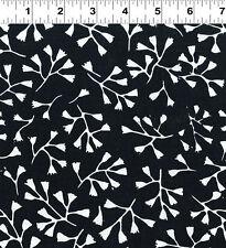 Batiks Botanica 3 Batik Cotton Fabric Clothworks Black & White quilt Fabric