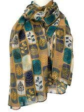 Mustard Scarf Ladies Yellow Blue Green Leaves Floral Leaf Print Wrap Shawl