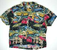 Vtg Paradise Found Route 66 Hawaiian Shirt M/L 80s Kurt Cobain Aloha Grunge