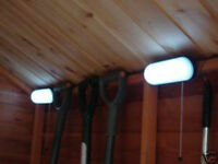 2 x 10 LED Solar Powered Shed Light Garage Stable Recargeable Twin Pack New UK