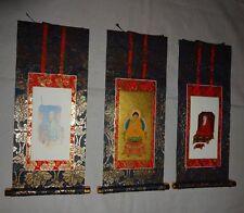 Rare Japanese Buddhist Altar Shrine Hanging Scroll Sōtō-shū Zen-shū Temple 3 Set
