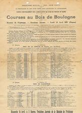 Longchamp, Bois de Boulogne, Paris - 10 Apr 1939 Racecard - Hunters Moon