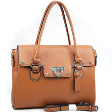 New Womens Handbags Leather Satchels Tote Bag Shoulder Bag Medium Purse Tan