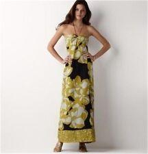 Ann Taylor Black Gold Ivory Cotton Halter Maxi Casual Long Dress 6 $99