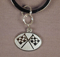 Sterling Silver Racing Flags Charm Key Ring Engravable Free U.S. Shipping