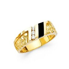 Onyx Mens Ring Solid 14k Yellow Gold Engagement Band CZ Nugget Style Black Fancy