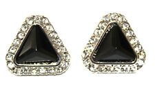 Black Triangle Shape Stone and Crystal Stud Earring (21)