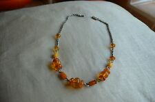 GENUINE AMBER NECKLACE ON WHITE METAL CHAIN