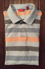 Mens IZOD Striped Short Sleeve Polo In Shades Of Blue & Peach Size XL EUC!