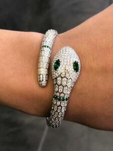 Platinum Sterling Silver Pave White Sapphire Serpentine Snake Bangle Bracelet