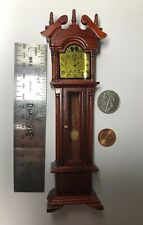 "1:12 7"" Tall Town Square Miniature Furniture DollHouse Mahogany Clock #S"