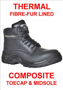 THERMAL COMPOSITE SAFETY BOOTS, FIBRE FUR LINED & S3 WATER PROOF LEATHER, LIGHT