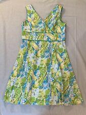 Women's Amanda Smith Sleeveless Dress Blue Green Yellow Floral Print Size 14