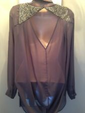 Grey Blouse With gorgeous Back Detail, warehouse Size 6