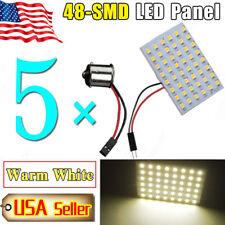 5X Warm White 48-SMD LED Panel Interior Light Bulbs 5008 +1156 BA15S Adapters