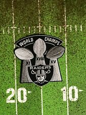 "OAKLAND RAIDERS JERSEY PATCH "" ""WORLD CHAMPS"" 3-SUPER BOWL 4X4 INCH IRON/SEW NEW"