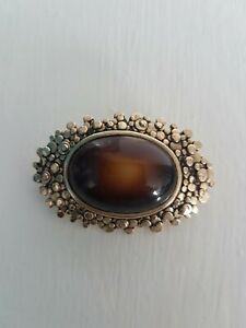Vintage Sarah Coventry Brooch faux tiger's eye
