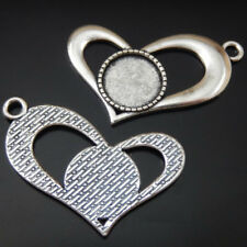 Round Cameo Setting Tray 14mm 50195 10pcs Vintage Silver Alloy Unique Heart