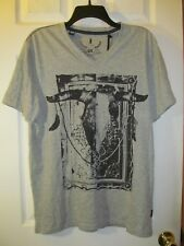 NWT MEN'S iJEANS by BUFFALO GRAPHIC DESIGN SHORT SLEEVE T-SHIRT Gray, Grey