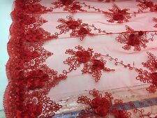 Red 3D Ribbon Flower Rosettes Embroider On A Mesh Lace.bridal-wedding. Lace.