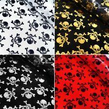 Satin Fabric Foil Skulls & Crossbones Halloween Pirate 150cm Wide Cosplay
