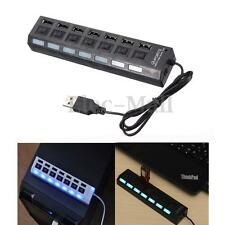 7 Ports USB 2.0 Hub High Speed Adapter LED ON/OFF Switch Plug&Play for Laptop PC