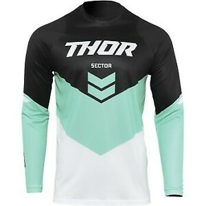 Thor Sector Chevron Jersey Black/Mint Green for Offroad Motocross - Men's Sizes