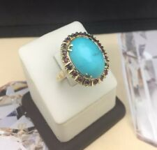Vintage 14k Yellow Gold Oval cabochon natural Turquoise with Ruby Sz 9.25 Ring