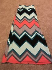 Rue 21 Junior Womens Black Blue Pink Chevron Maxi Skirt Size XS