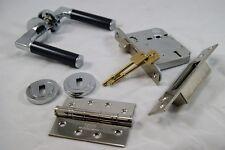 Milan Door Handle Pack (External Timber Door Set) PC/BLACK C/w Hinge