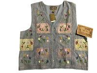 Tantrums Blues Women's Embroidered Floral Vest size 2X-Large